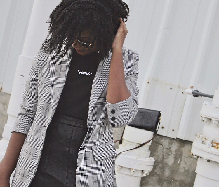 Check blazer, missguided, feminist t-shirt