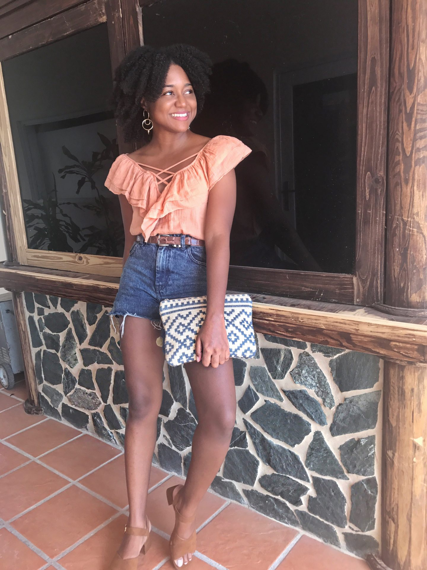 The Business of Chic, Ruffled Top, Denim Shorts